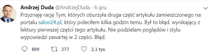 Twiter Andrzej Duda poleca artykuł którego nie przeczytał dokładnie
