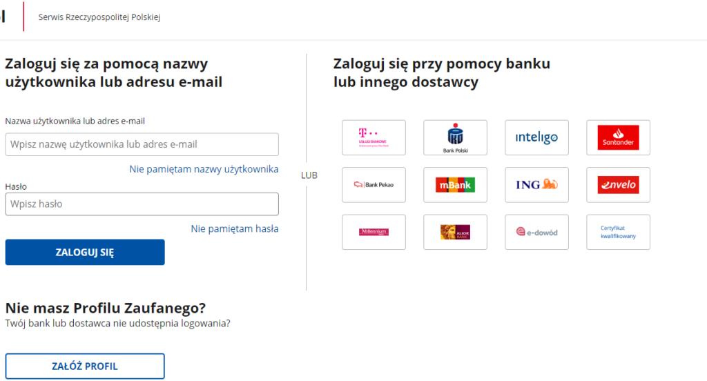 Profil zaufany jak założyć online lista banków i dostawców