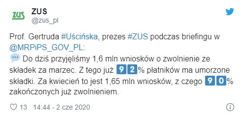 Status wniosku w E-PUE ZUS nowa funkcj informacja Twitter ZUS